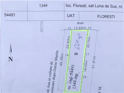 Teren intravilan Luna De Sus, 705mp, front 13,65