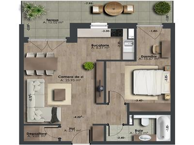 Comision 0%, apartament 2 camere, 56mp, bloc nou, zona The Office