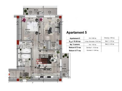 Apartament 3 camere, 70mp, bloc nou, Borhanci, garaj subteran
