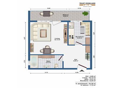 Apartament 1 camera, 35 mp, semifinisat,logie-15 mp,garaj